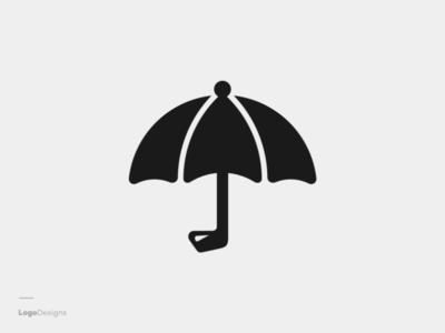 Golf And Umbrella Logo Designs fun for sale creative logo clean design golf umbrella eye catching smart unique logo combination logodesign