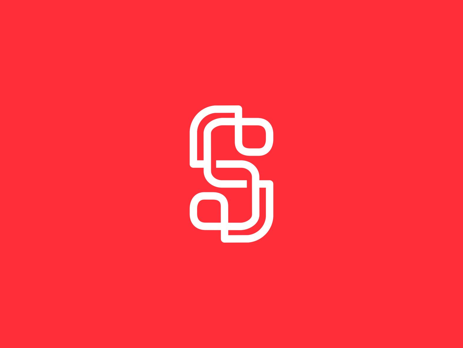 S Monoline unique creative clean  creative mono line initials logo a day logo