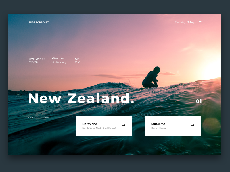 Surf Forecast : Header Concept web design web ux ui surf header photography new zealand minimal interface clean beach