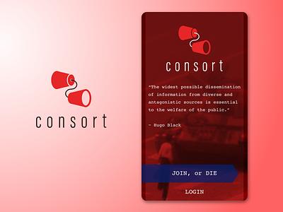 Consort login screen login brand development brand identity fibonacci branding design ui app logo