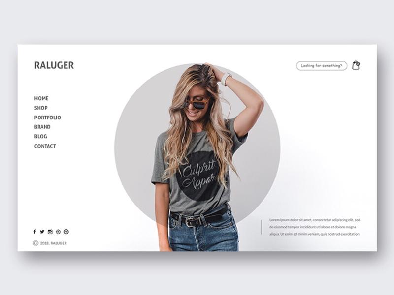 Raluger Clothing Store. 1/3 ui design minimal website fashion web ui