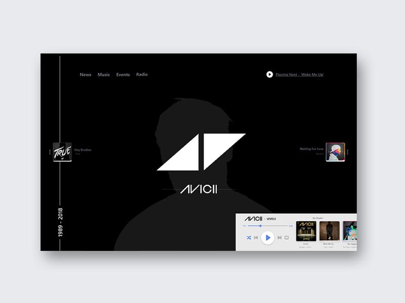 Avicii (Tribute to a Star) webui web minimal creative music dribbble thedailyui ux ui avicii