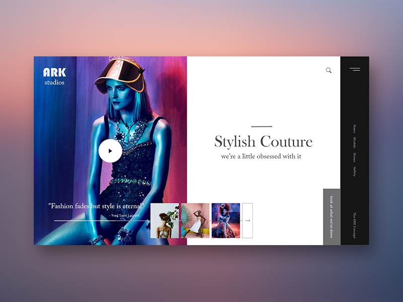 ARK Studios landing page fashion concept landing web layout design ux ui