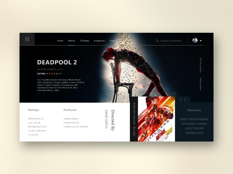 IYST Entertainment Database Site website layout games movie concept web uiux landing design ui