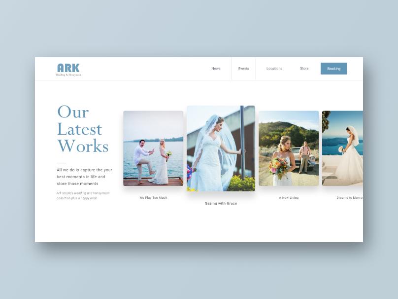 Ark Weddings and Honeymoon Portfolio Page web ux ui layout portfolio landing fashion design concept