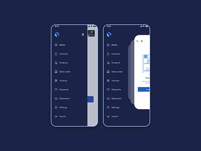 App side menu sidebar mobile uiux design ui