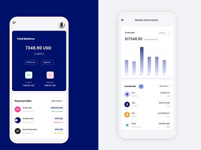Mobile banking app financial app finance fintech wallet mobile wallet mobile uiux adobe xd design ui