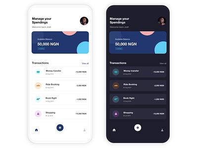 Mobile Fintech mobile app design ui uiux transactions spendings savings finance mobile fintech fintech mobile