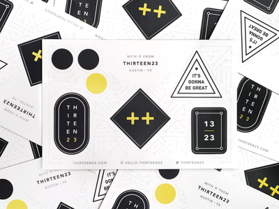 thirteen23 Stickers geometric brand extension logos brand design black and white promo branding swag stickers
