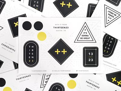 thirteen23 Stickers geometric brand extension logos brand design black and white promo branding swag stickers