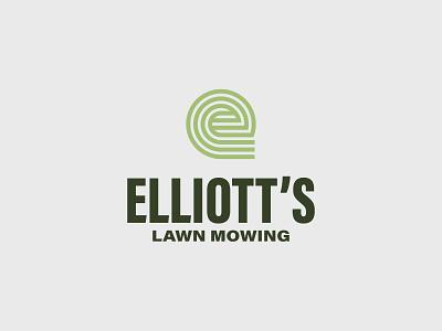 Elliott's Lawn Mowing design thick lines mark illustrator icon logo vector