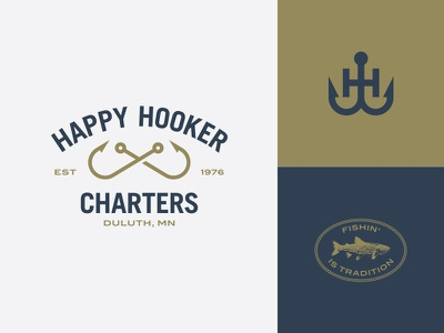 Happy Hooker Charters fish hooks fishing thick lines icon logo