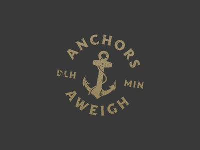 Anchors Aweigh nautical anchor mark logo thick lines vector badge