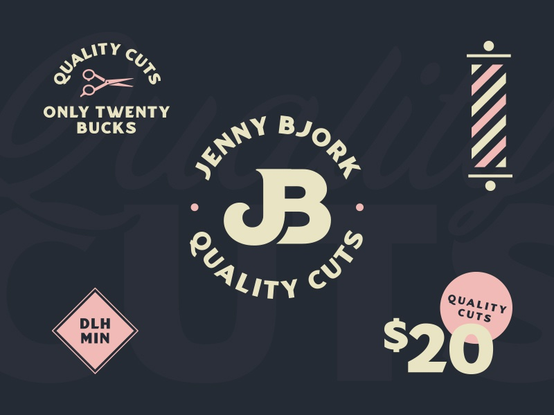 Quality Cuts haircut hairstylist identity vector branding logo