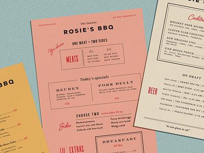 Rosie's BBQ Menus vintage layout typography menu design design illustration surface design logo menu