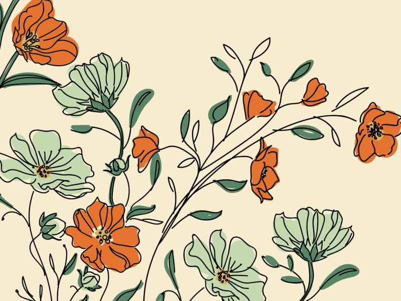 Vintage floral illustration pattern textile print textile design surface design packaging illustration