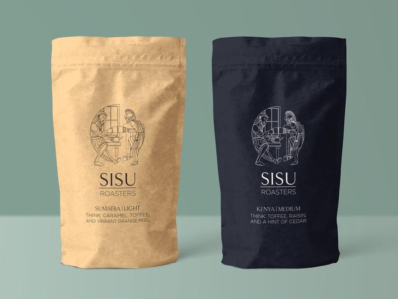Sisu Roasters coffee cup vector illustrator coffee shop sisu norwegian line art branding roasting coffee