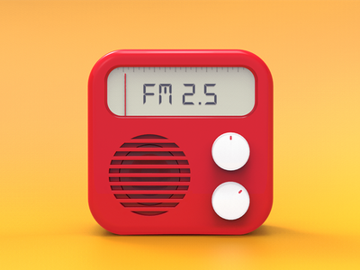 qingting Fm rendering qingting icon red radio fm 3d