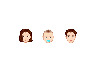 Family set family infant baby dad mom face pixel