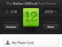 The Font Game 3 Score Card