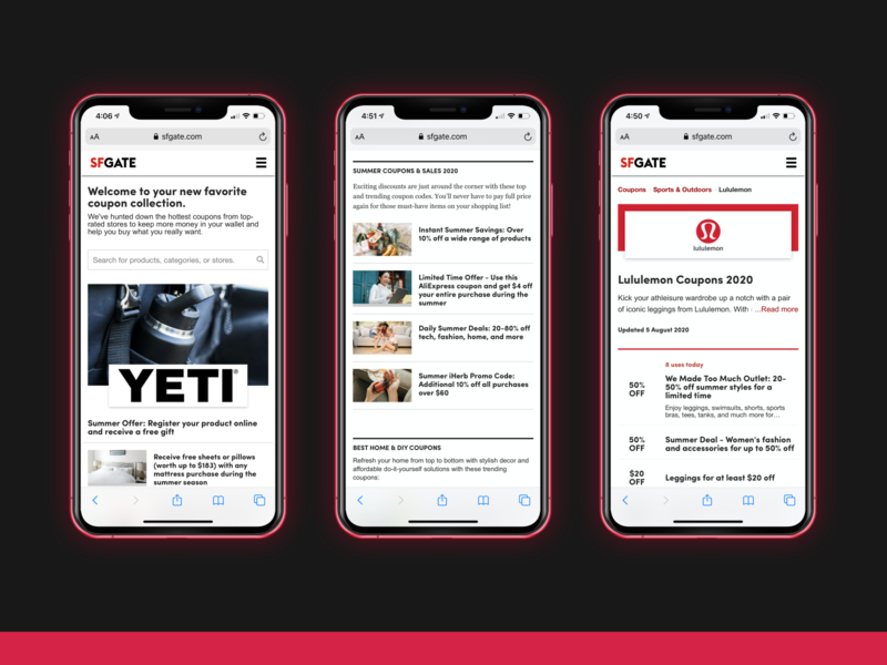 Ecommerce Coupons Software (mobile) - SFGATE red ecommerce ux web design application blog ios app design ios app iphone typography branding