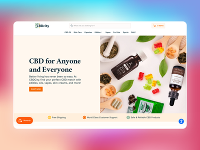 CBD City Landing Page hero banner banner vector gradient orange landing page ux cannabis typography ecommerce web website branding