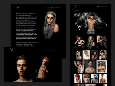 Photographer Portfolio - Virulent Valmont editorial fashion black dark landing page wordpress design portfolio photography ux ui web website typography branding