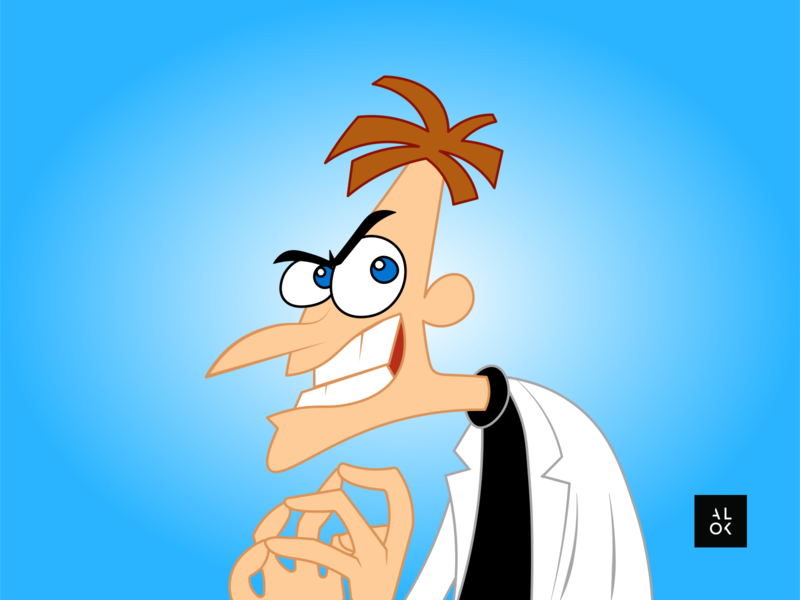 Dr. Heinz Doofenshmirtz | Character Design Illustration designedbyalok character design alok phineasandferb cartoon illustration cartoon character cartoon modern art poster illustration dribbble design