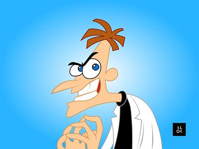 Dr. Heinz Doofenshmirtz | Character Design Illustration designedbyalok character design alok phineasandferb cartoon illustration cartoon character cartoon modern art poster illustration dribbble design