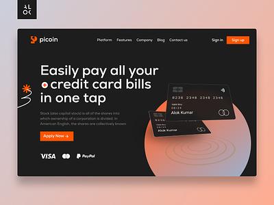 Picoin - Credit Card Website |  Web Design dribbble webdesign designedbyalok ui deisgn ux design uiux payments banking credit card ui design website design website alok ux ui web design