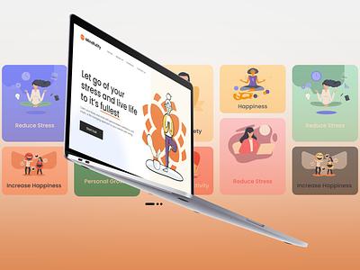Mindfulify Landing Page | Web Design dribbble app ui app design ui design alok ux ui meditation app mindfullness mindfulify meditation web design landing page design landing page