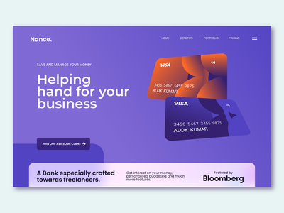 Nance Bank Homepage | Web Design ui design branding alok ux ui design dribbble landing page homepage website design banking bank nance