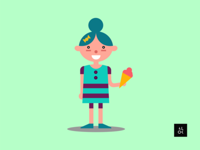 Girl With IceCream | Character Design Illustration