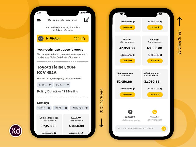 screen02 android app animaiton insurance app typography branding clean app ui design creative app iphone app mobile app ux
