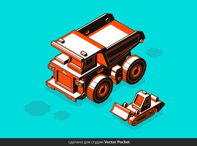 dump truck painting illust fineart design vector isometric illustration drawing creative art 2d