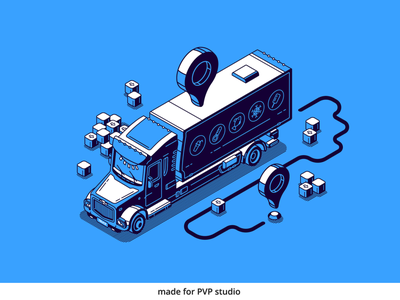 Truck shipping painting illust fineart design vector isometric illustration drawing creative art 2d