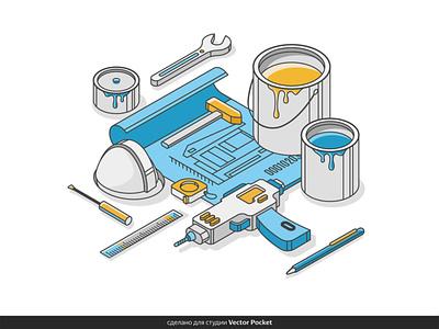 repair kit painting illust fineart design vector isometric illustration drawing creative art 2d