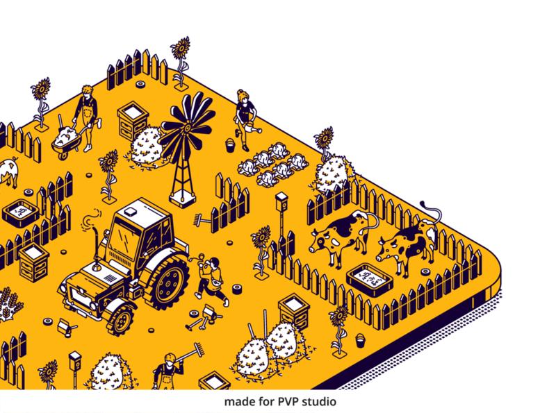 Fancy Farm close 2 illust fineart design vector isometric illustration drawing creative art 2d