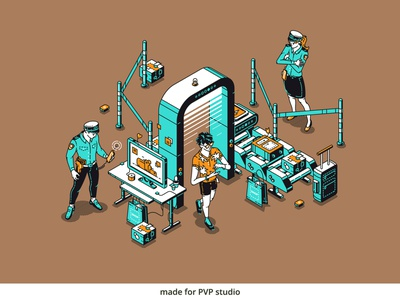 Security Check painting illust fineart design vector isometric illustration drawing creative art 2d