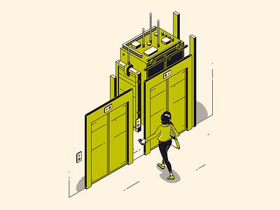 Elevator painting illust fineart design vector isometric illustration drawing creative art 2d