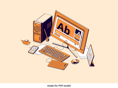 Workplace painting illust fineart design vector isometric illustration drawing creative art 2d