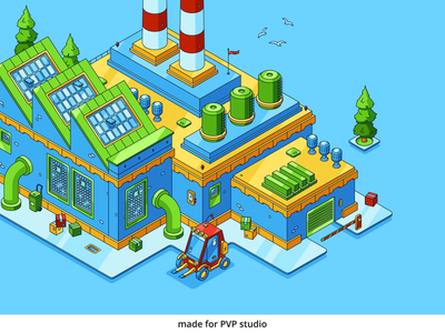 Factory close painting illust fineart design vector isometric illustration drawing creative art 2d