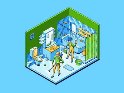 Bathroom cleaning painting illust fineart design vector isometric illustration drawing creative art 2d