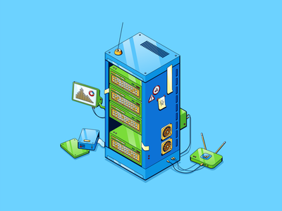 Dedicated Server design vector isometric illustration drawing creative art 2d branding logo motion graphics graphic design 3d animation