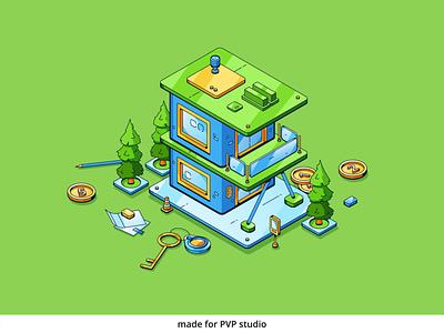 Mortgage design vector isometric illustration drawing creative art 2d