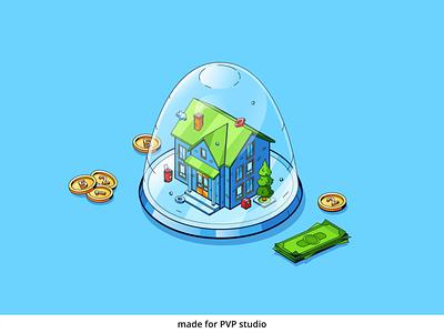 Home insurance design vector isometric illustration drawing creative art 2d