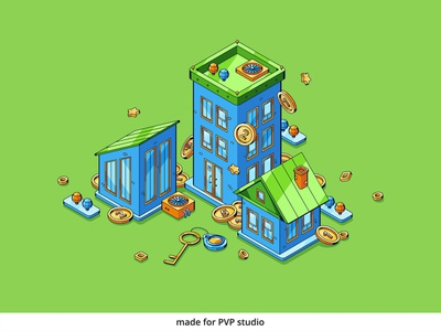 Property Investment design vector isometric illustration drawing creative art 2d