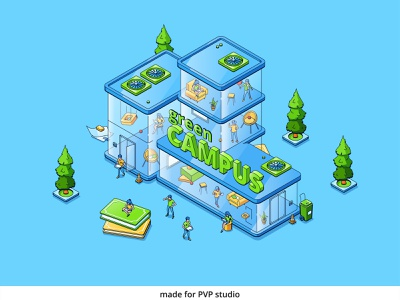 Green Campus 1 vector isometric illustration drawing creative art 2d