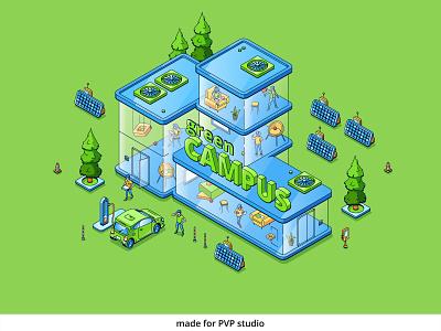 Green Campus 2 ui logo design vector isometric illustration drawing creative art 2d
