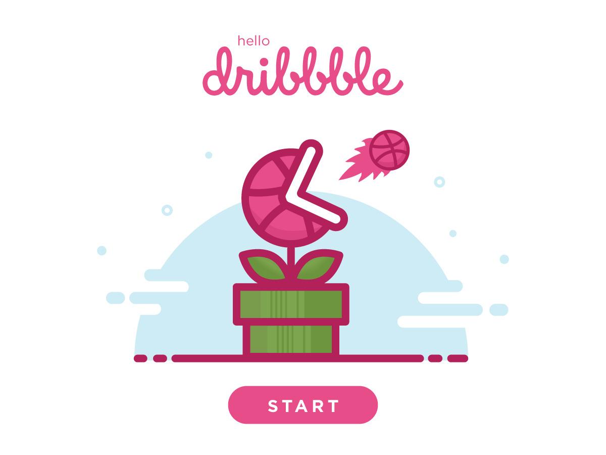 Hello Dribbble! piranha plant mario bros smash bros ui design illustration debut dribbble hello dribbble